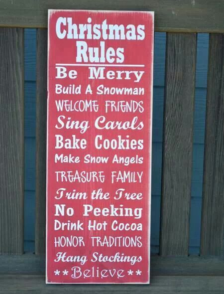 Christmas Rules I love this and follow them all too