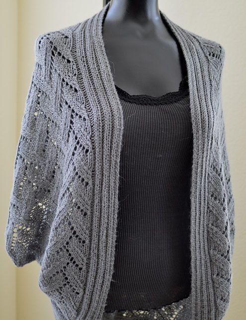 Knitting Pattern for Calida Luxe Coccon Cardigan - Open lace cardigan with a cocoon silhouette. S/M (L/XL, 2XL/3XL).