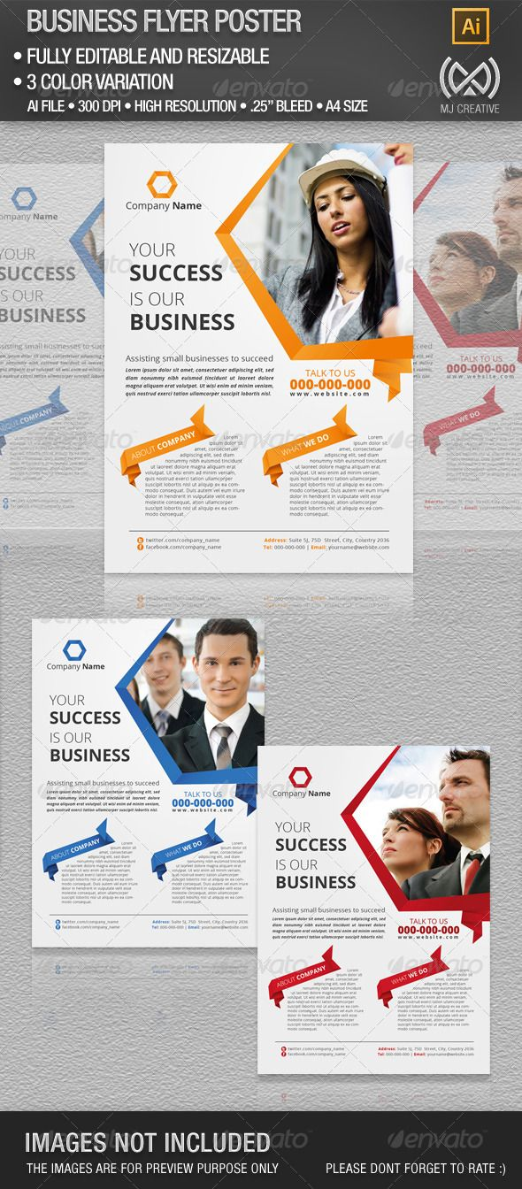 Business Flyer  #GraphicRiver         This is vector based layout and can be resize without losing its quality.   • Ready to print • High quality Resolution • Fully Editable • Resizable • Well Organized Layers • 3 Color Variation • A4 (8.27×11.69 inc) • bleed 0.25   Included in the download   • Ai File CS 3 or Later • EPS   Free fonts used in the design:   • open sans –  .fontsquirrel /fonts/open-sans     Created: 28May13 GraphicsFilesIncluded: VectorEPS #AIIllustrator Layered: Yes…