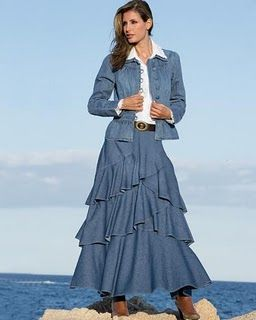 I really like the way the ruffles are on this long denim skirt.