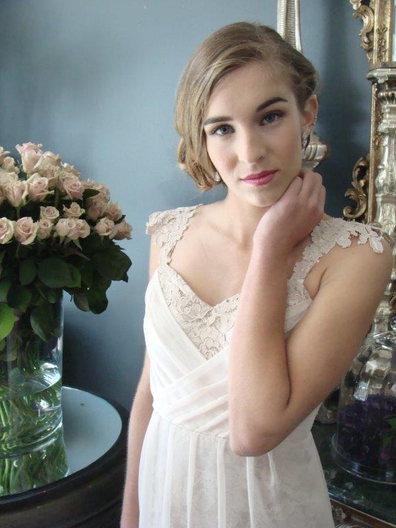 Pretty chiffon & lace handmade ball gown