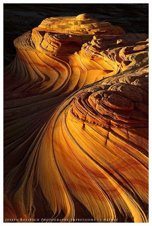 ROCK FORMATIONS Sandstone Swirls at Sunset by ~joerossbach