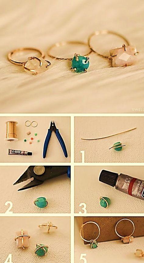 anillo alambre bisuteria paso a paso diy joyeria pegamento piedra - Diy Wire Jewelry Rings, Wire Jewelry Designs, Handmade Wire Jewelry, Wire Wrapped Jewelry, Beaded Jewelry, Handmade Rings, Jewellery, Diy Bracelets Easy, Diy Rings Easy