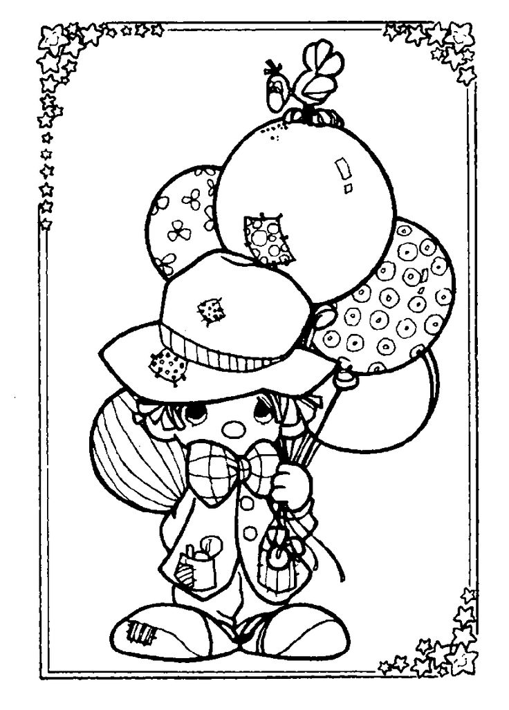 precious moments coloring pages coloring sheets precious moments clown balloonscoloring - Clown Balloons Coloring Page