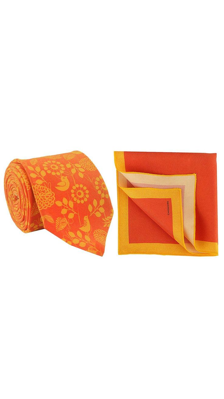 Buy Chokore Red and Orange printed tie and pocket square set Online at Low Prices in India - Paytm.com