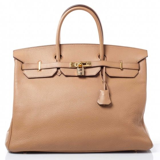 Such a staple.   HERMES Taurillon Clemence Birkin 40 Tabac in Camel.