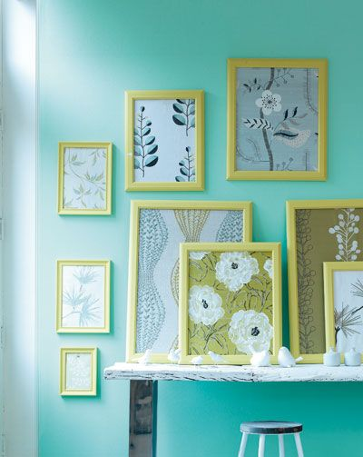 Turn old fabric scraps into wall art with inexpensive frames!