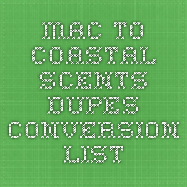MAC to Coastal Scents Dupes Conversion List