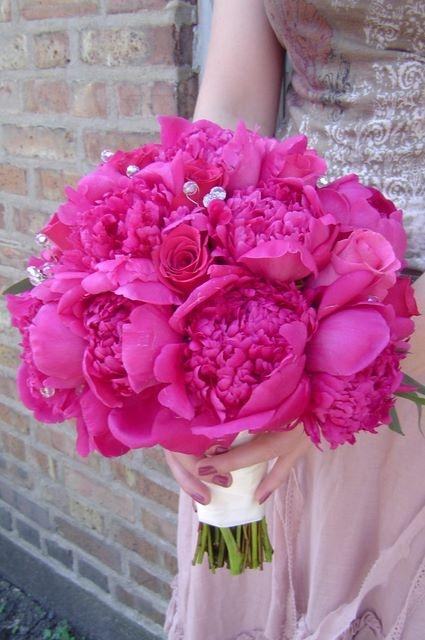 Hot pink peony bouquet wedding it s on pinterest