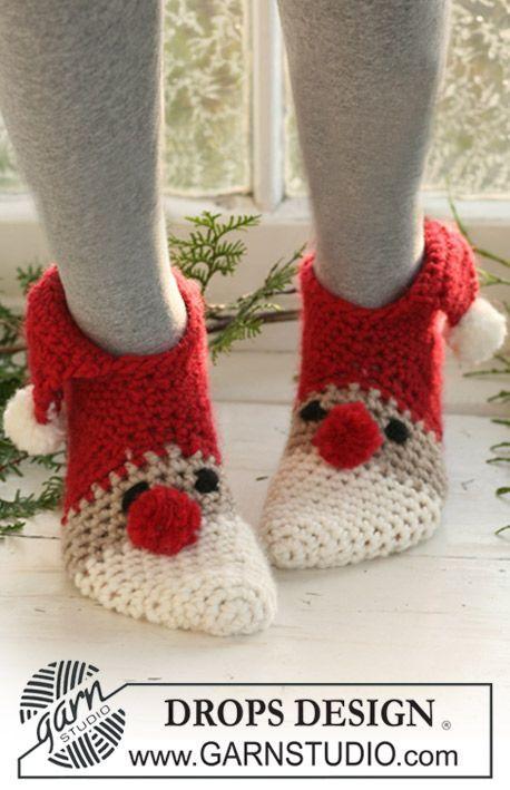 Hæklede DROPS julenissetøfler i Eskimo. Str 22 til 44 Gratis opskrifter fra DROPS Design.
