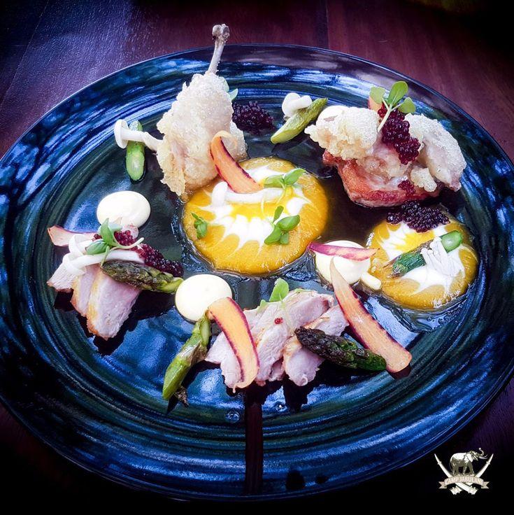 Tempura Quail leg with pan fried Quail breast served with orange and Bulgarian yoghurt puree, rainbow carrot ribbons, micro basil, berry vinegar, caviar & grilled asparagus tips. #chef #campjabulani #food #foodphotography #delicious