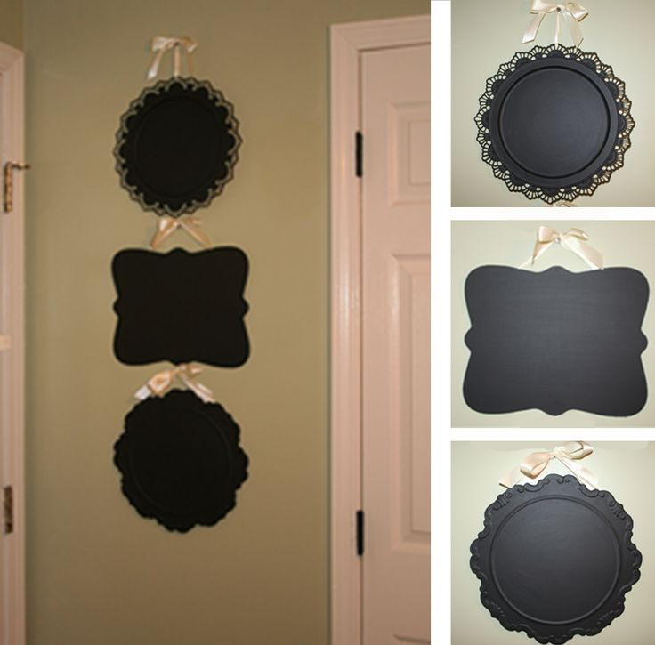Dollar store platters covered in chalkboard paint.: Stores Platters, Add Chalkboards, Dollar Stores, Diy Crafts, Platters Covers, Chalkboards Paintings, Cute Ideas, Thrift Stores, Chalk Boards