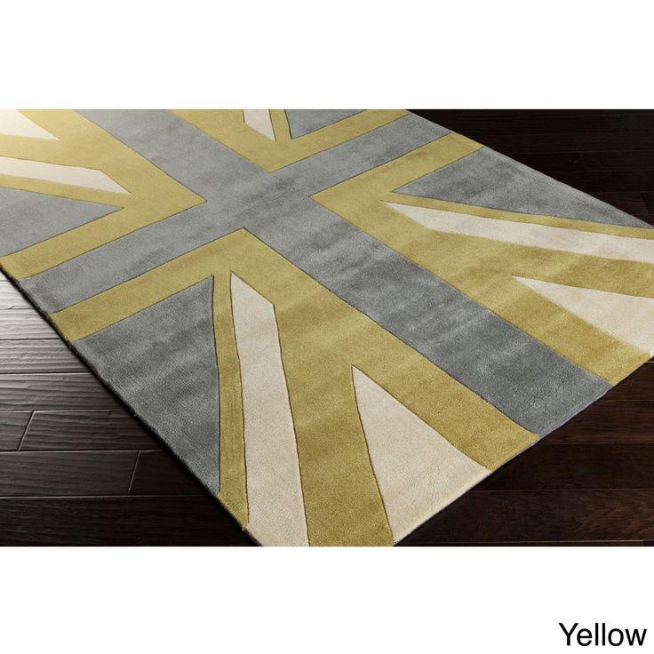 Hand-tufted Union Jack Novelty Contemporary Area Rug (8' x 11') (