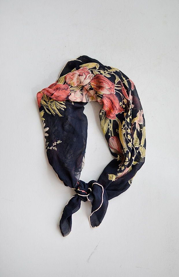 vintage 1950s navy silk floral bouquet print scarf.
