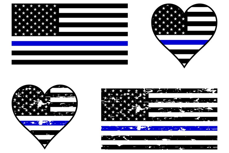 Police Blue Line Flag SVG