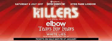 American indie-rock band The Killers have been confirmed as the final headline act for one of UK's biggest music festivals. BST Hyde Park on the 8th July 2017.