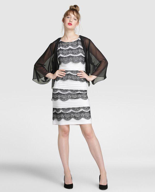 Vestido de festa de El Corte Inglés 2018 Corto blanco con encaje negro