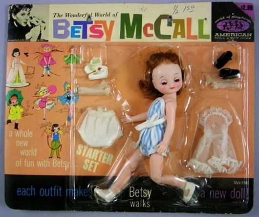 """8"""" hard plastic and vinyl Betsy McCall Starter Set, on original card packaging featuring children's television show presenter Shari Lewis and her ventriloquism character Lamb Chop, United States, 1960, by American Character (under the newly-reorganized company's American Doll & Toy Corp. moniker)."""