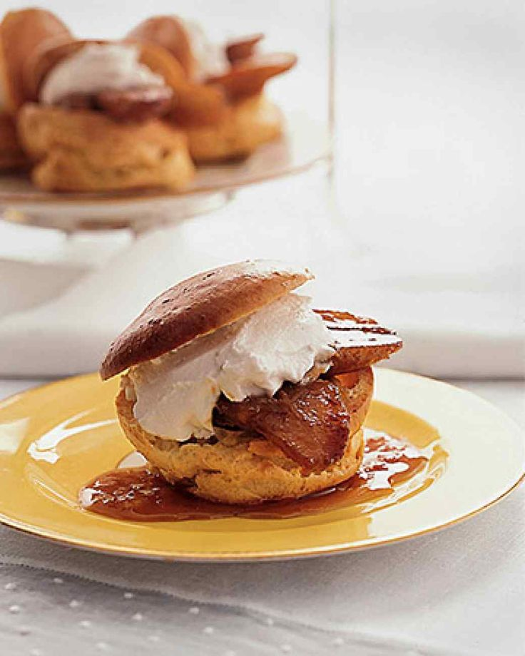 Passover Dessert Recipes | Martha Stewart Living - Give these cream puffs, made with matzo meal, star billing on the Passover dessert buffet. They're filled with coconut cream and caramel bananas and are altogether irresistible.