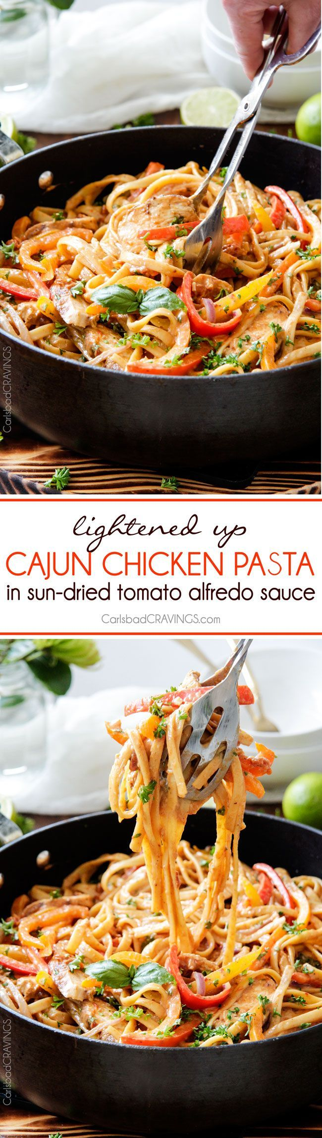 Cajun Chicken Pasta in the most amazing flavor bursting creamy Sun-dried Tomato Alfredo Sauce! The juicy spice rubbed chicken melts in your mouth and the pasta is 10000x better than any restaurant at a fraction of the cost and calories!