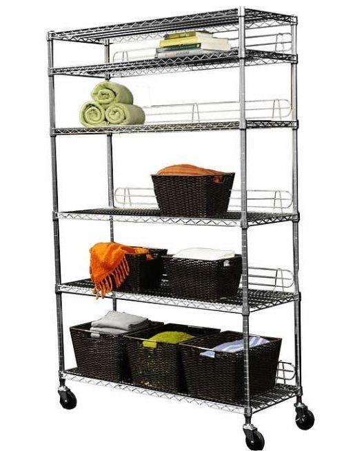 Shelving Units And Storage Metal Shelves Wheels Garage Adjustable Kitchen Racks #Trinity