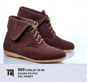 Jual Sepatu Boots Wanita warna cokelat Murah Online