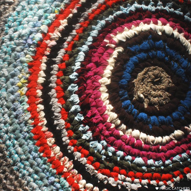 Crochet carpet, hand made rug from scraps of cloth, t-shirts, all upcycled materials.