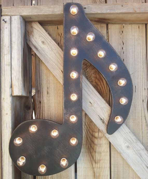 """24"""" GIANT Music Note Lighted Marquee, Wood Home Decor"""