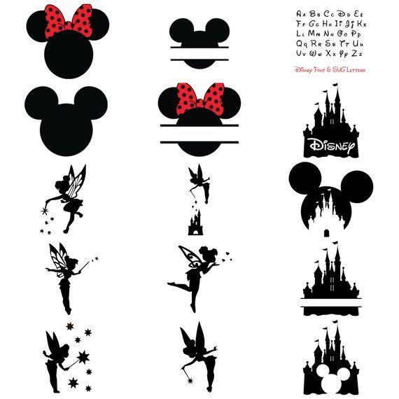 Disney Bundle SVG, schneiden Dateien: Mickey & Minnie Maus Ohren, Tinkerbell, Disney-Schloss, Disney Schriftart, Cricut, Silhouette, Dfx, Eps, Png, Svg
