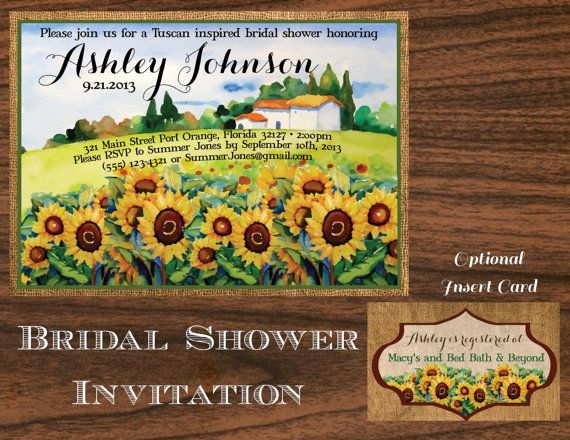 Wedding Shower Invitation Tuscan Themed by FeatheredHeartPrints, $15.00