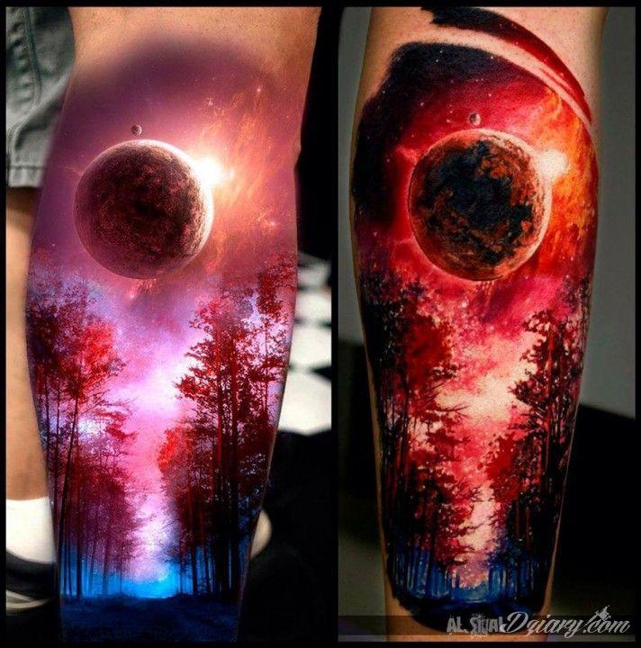 Hiperrealistyczny tatuaż na łydce wykonany przez Aleksandra