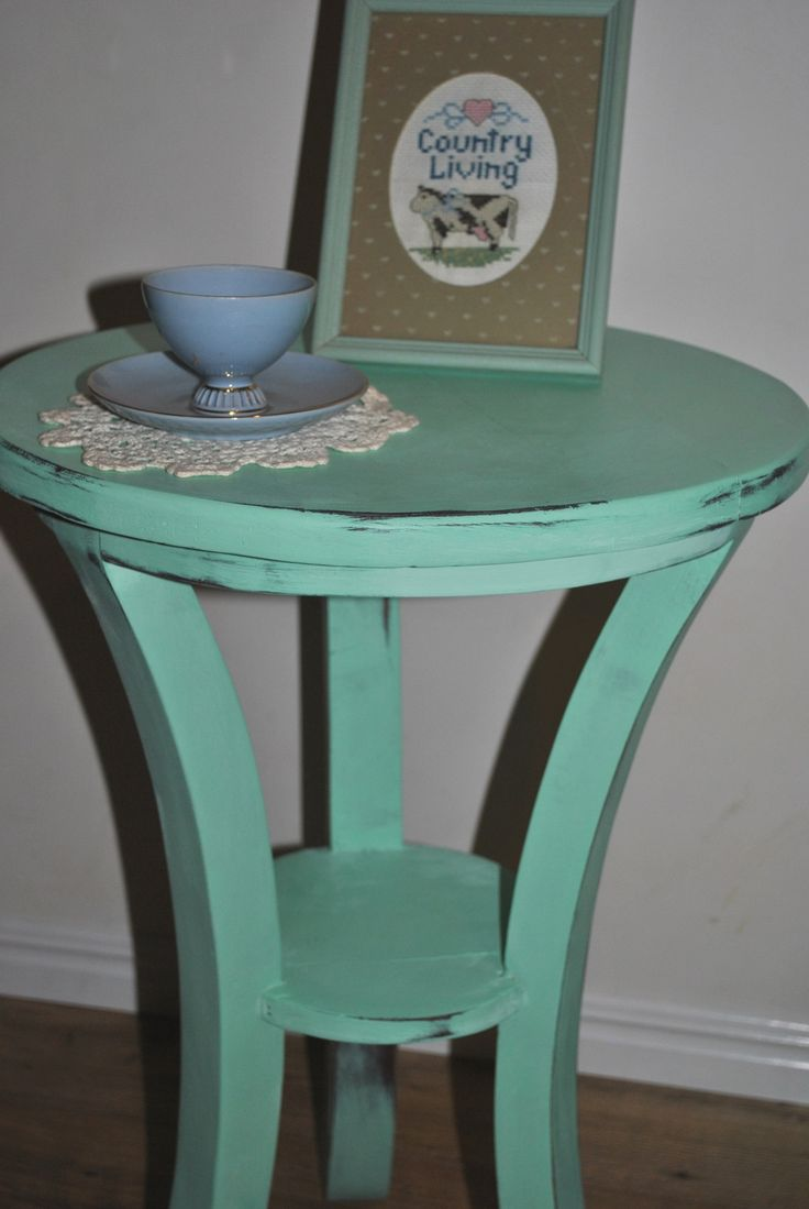 Fresh mint green side table/coffee table. Comment to inquire or purchase.