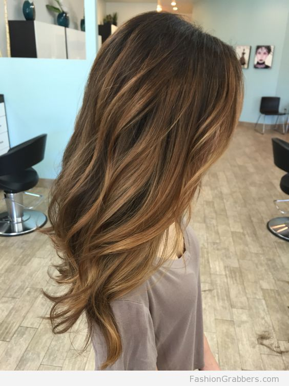 Light brown Balayage with caramel highlights