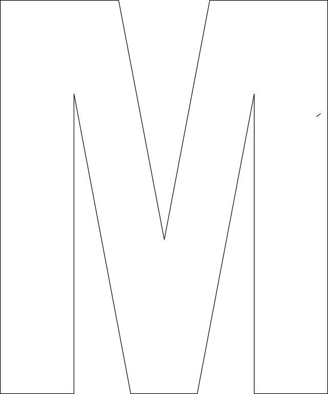 Free Printable Upper Case Alphabet Template: M - Free Printable Upper Case Alphabet Template