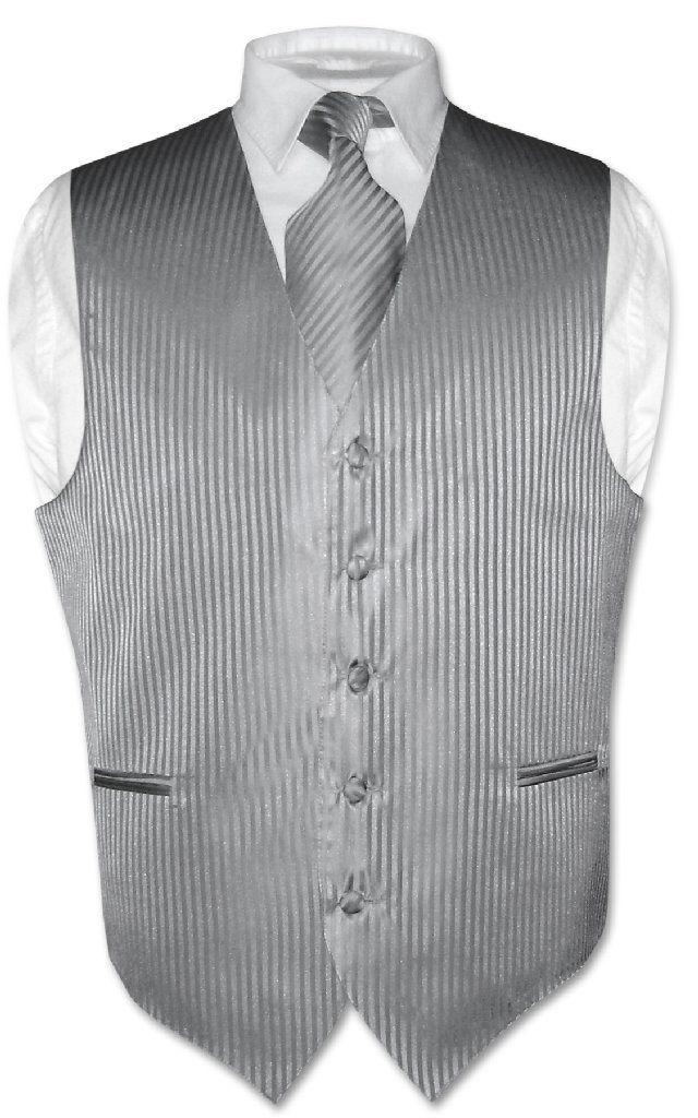 10768aec3f Men's Dress Vest & NeckTie SILVER GREY Vertical Striped Design Gray Neck  Tie Set