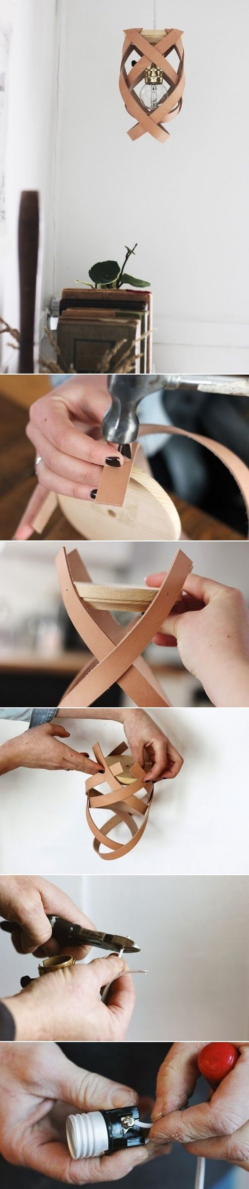 Handmade Leather pendant lamp
