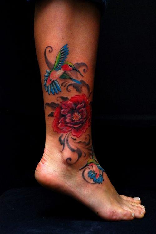 hummingbird tattoo piece.