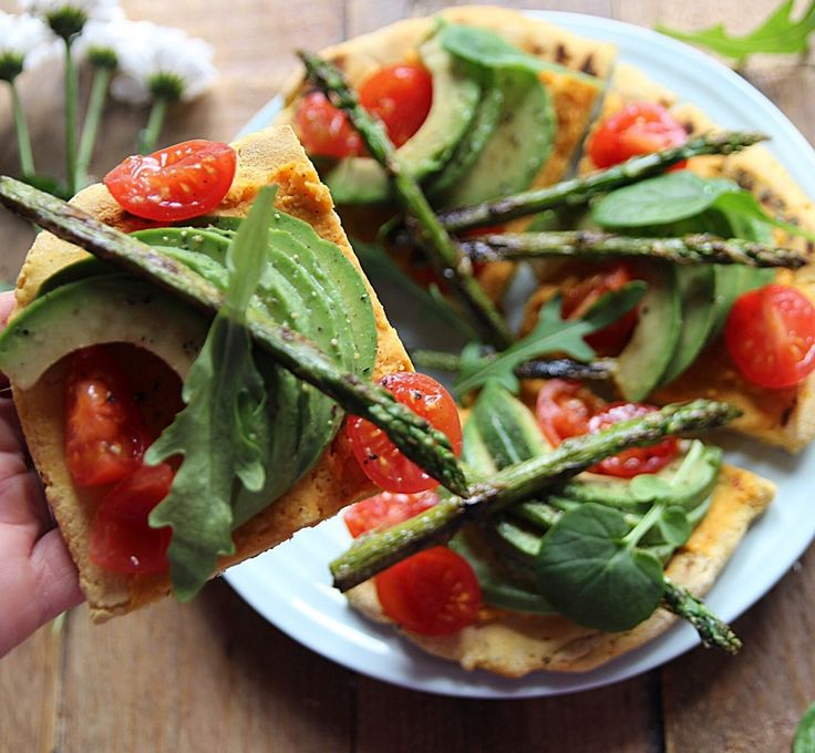 Chickpea Flatbread Pizza with Hummus and Avocado (Vegan and Gluten Free)
