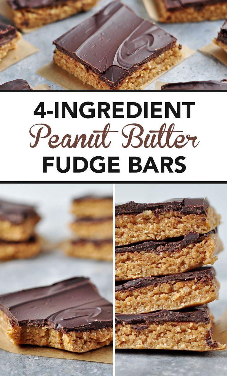 4-Ingredient Peanut Butter Fudge Bars