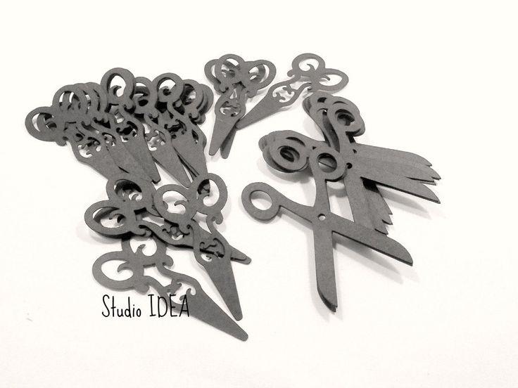 "Mixed Designs Black 2"" Scissors Cut outs, Embellishments- or Choose Your Colors- Set of 60pcs, 120pcs by StudioIdea on Etsy"