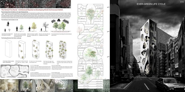 """HONORABLE MENTION REG. NO. 0115 """"The Vertical Tree Burial – Architectural Reaction to Developing World And Constant Beliefs"""" by Huihui Luo, Runjia Tian, Sibo Qin, Yuhan Wu, Ziyi Xu (Architecture Students)"""