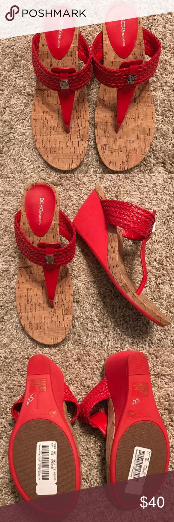 Brand New BCBG generation red wedge shoe size 8 Brand New BCBG generation red wedge shoe. 3 1/4inch wedge. Super cute! Dressy or casual. Size 8. BCBGeneration Shoes Wedges