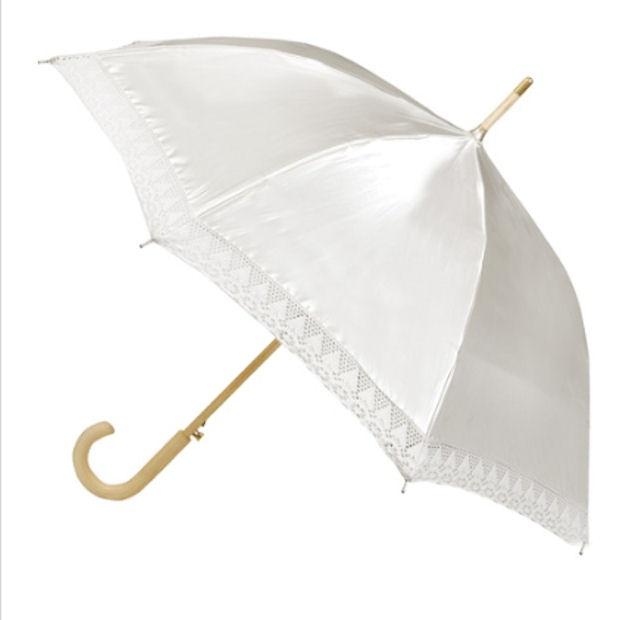 White Satin Wedding Umbrella For The Bride I Would Add Roses To Top Since This Basically Be Her Bouquet Victorian Pinterest