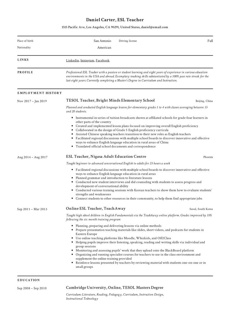 ESL Teacher Resume Template in 2020 Teacher resume, Esl