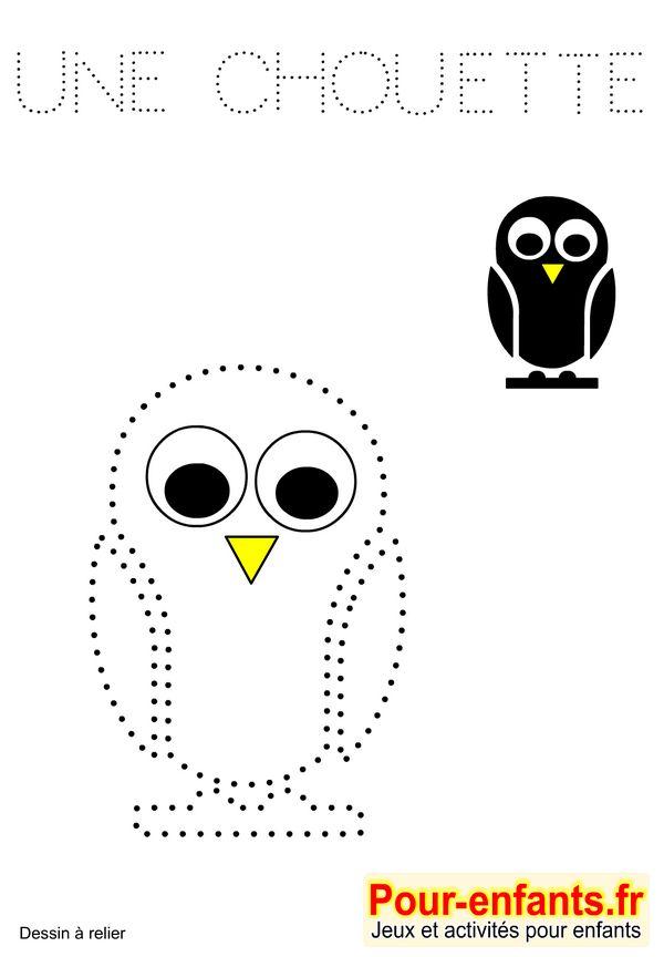 Jeux à imprimer maternelle jeu dessins A relier enfants de maternelle imprimer gratuitement dessin de chouette gratuit