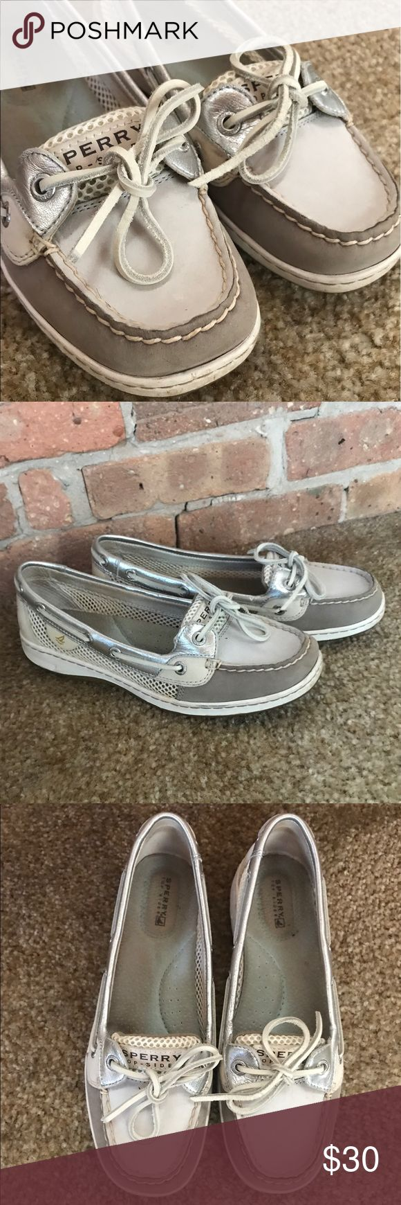 Women's grey silver and white Sperry's Women's Sperry's size 7.5 color is mostly white with silver and grey detail. Outside in great condition. Super comfortable and great for summer. Sperry Shoes Flats & Loafers