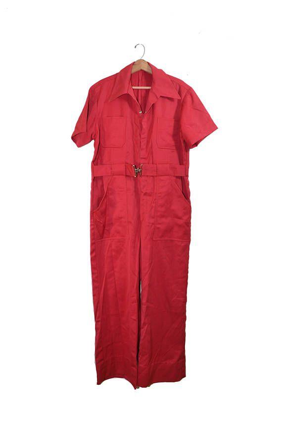Vintage Mechanics Jumpsuit Vintage Jumpsuit Red Jumpsuit Red