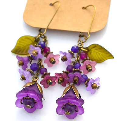 Unique Handcrafted Lucite Flower Cascading Bouquet Earrings - Choose Your Style