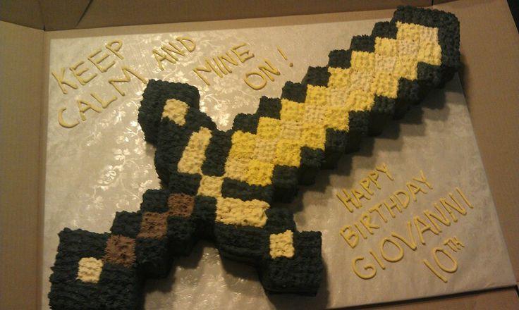Minecraft Gold Sword Cake Birthday Party Ideas