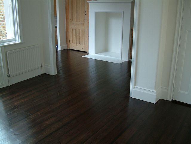 Old Pine floor. Sanded, stained dark oak, 3 coats satin varnish.